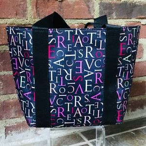 NEW Victoria's Secret Black Letter Tote Bag